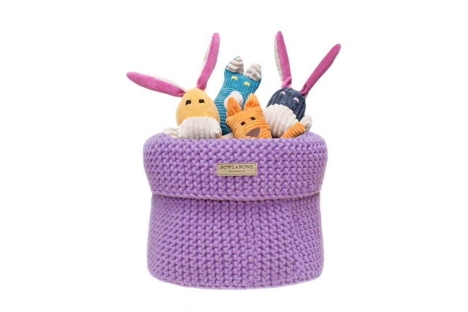 kosz na zabawki dla psa cotton fioletowy zabawka felix rex roy bax bowlandbonerepublic ps1sa