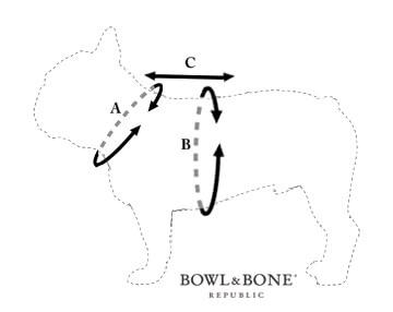Schemat mierzenia psa do szelek Denim
